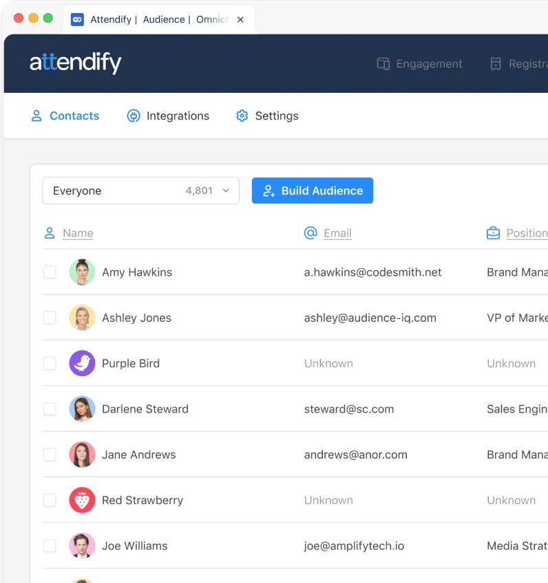 Attendify's centralized event database and audience intelligence
