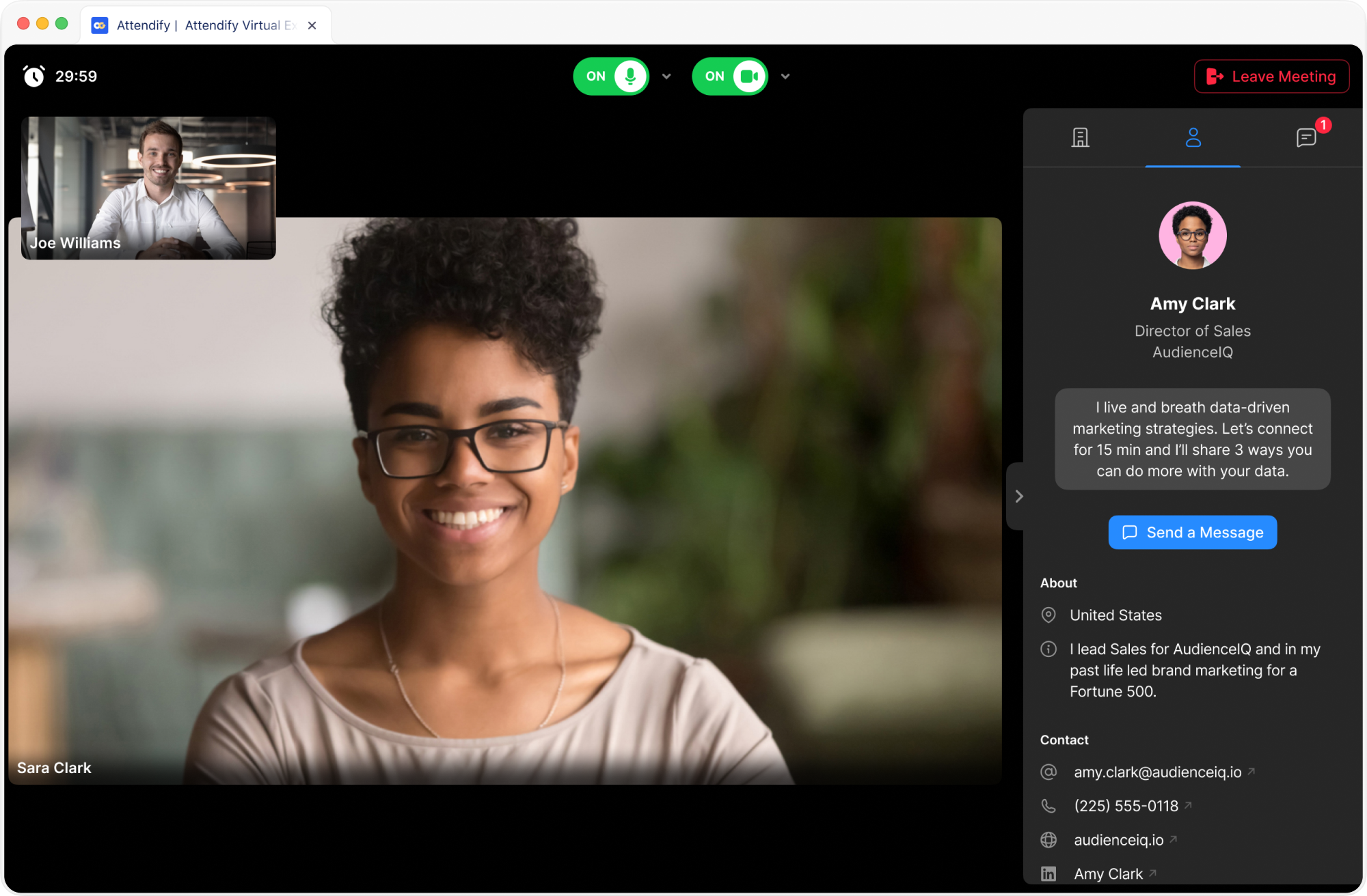 Attendify's real-time, live video meetings for event sponsorships