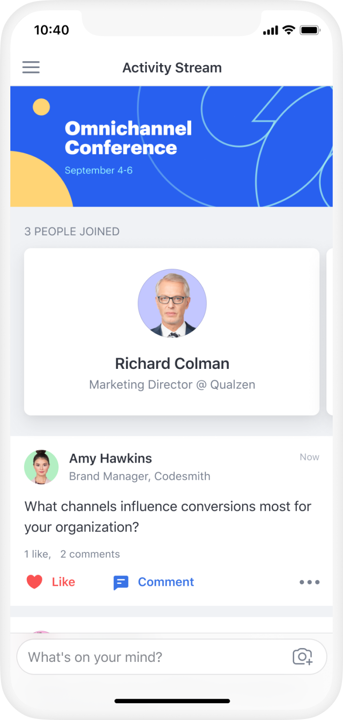 Attendify connects your event community to engage with fellow attendees, virtual sessions, and event content