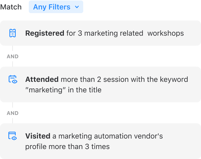 Create custom audience segments with Attendify's powerful event analytics