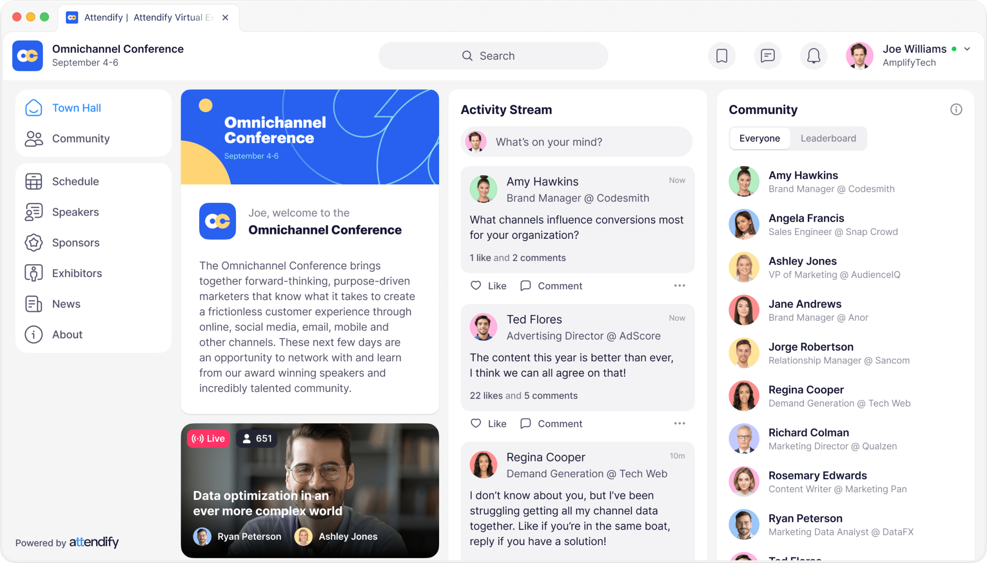Attendify event platform's virtual town hall, digital networking, and audience engagement for online and virtual events