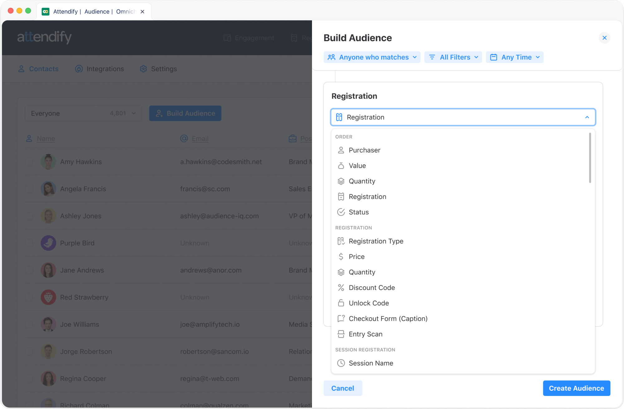 Attendify's event tracking and attendeedatabase enable unlimited audience segmentation possibilities