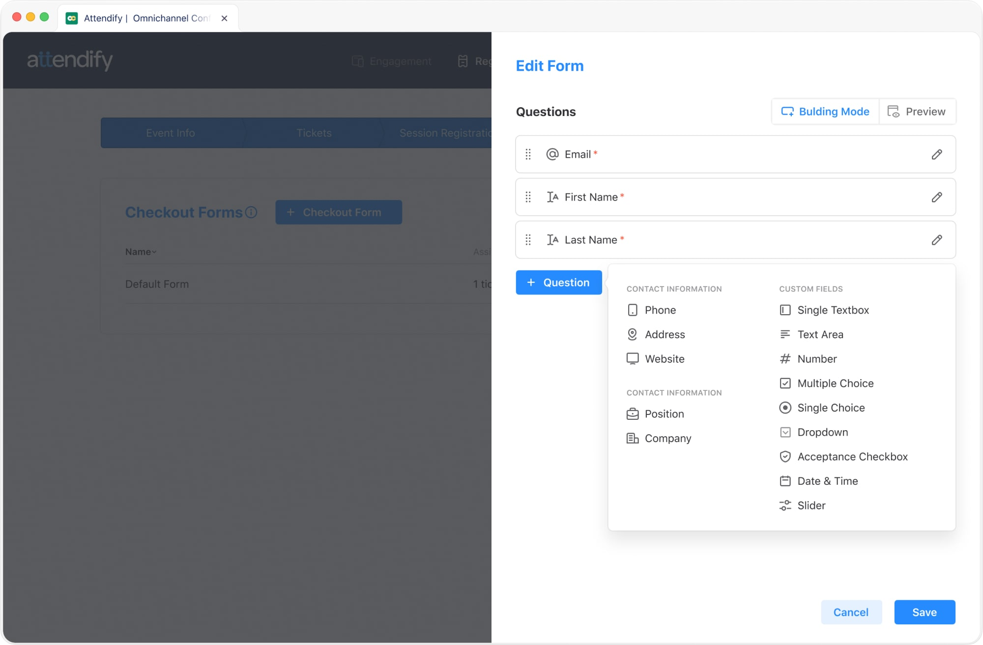 Attendify event registration software's customizable checkout forms