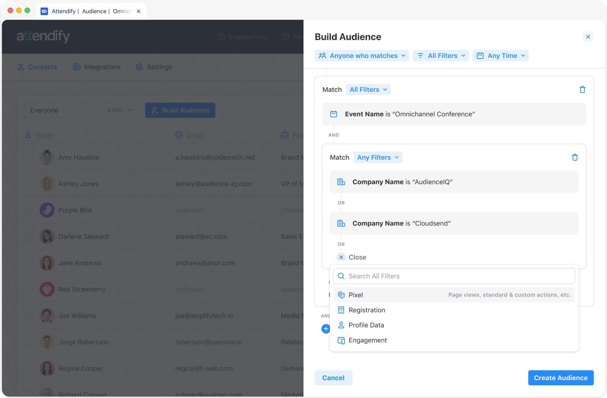Use Attendify's advanced filtering & virtual event analytics to surface intent signals