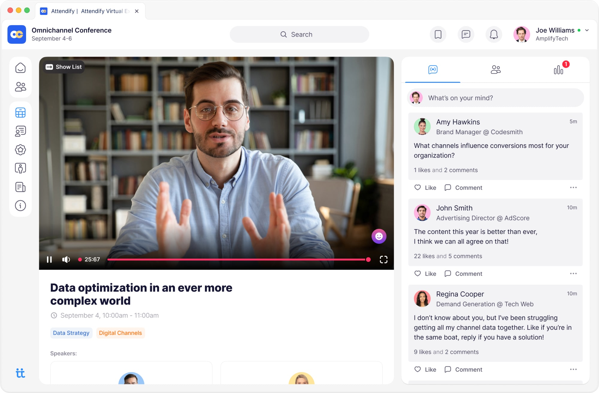 Create engaging virtual experiences at online events with Attendify's native live streaming or 3rd-party streaming options