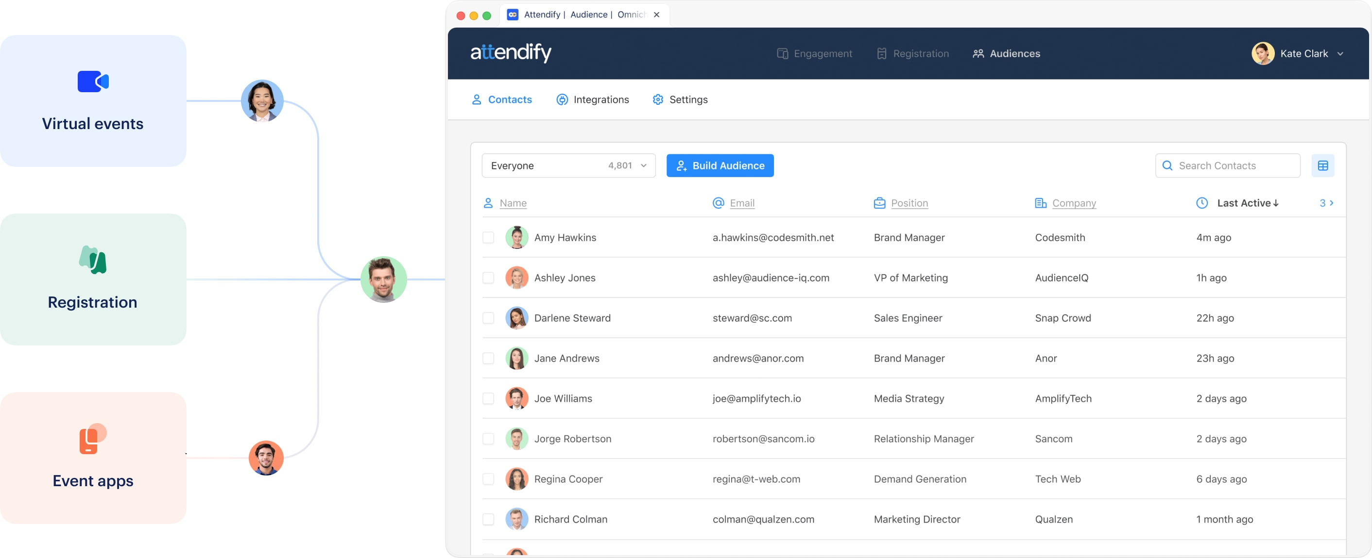 Attendify's built in data platform for marketing events