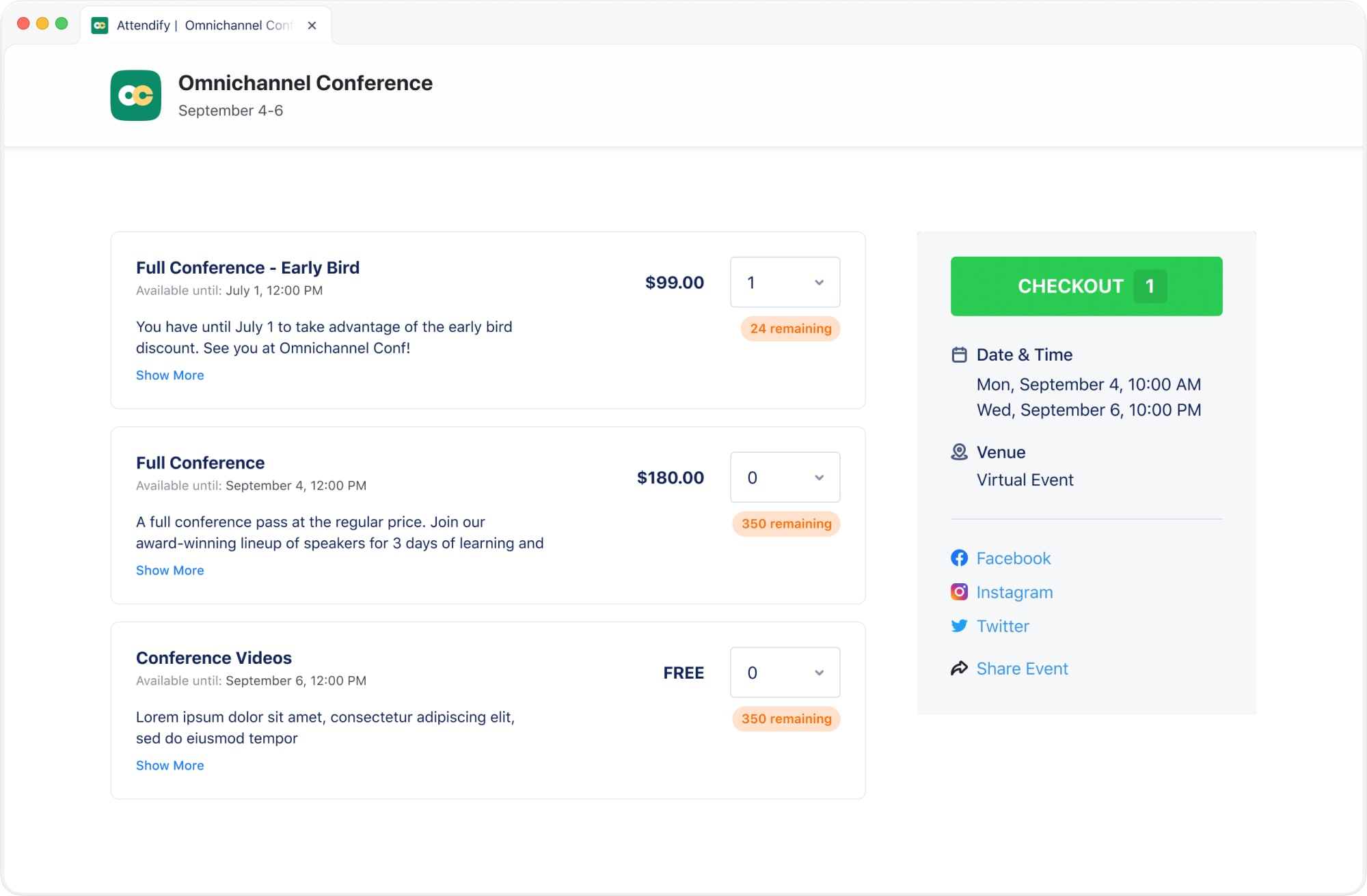 Attendify supports paid and free event registration types