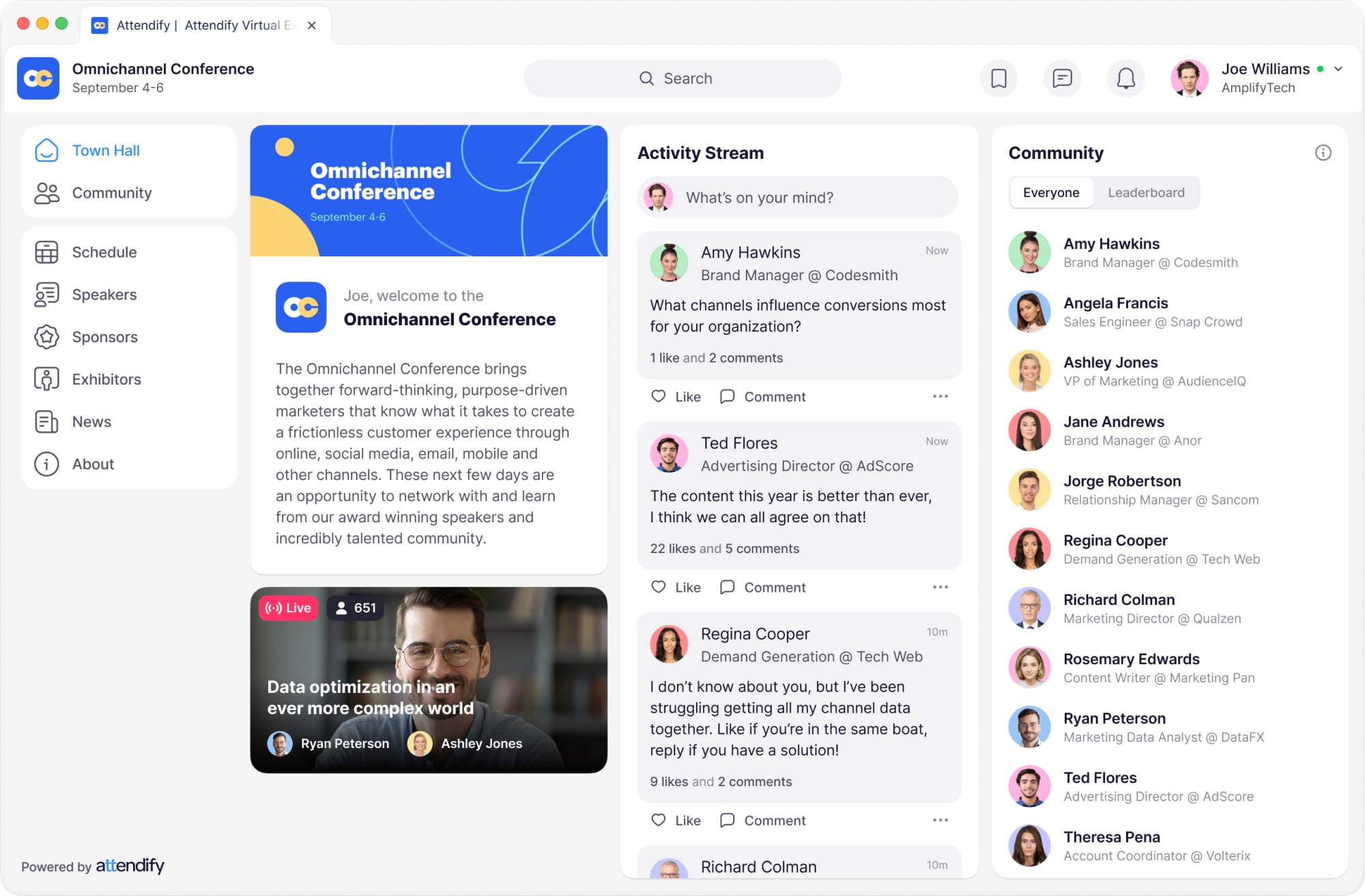 Attendify's engagement solution & virtual town hall for virtual events